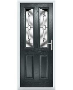 The Birmingham Composite Door in Grey (Anthracite) with Crystal Bohemia