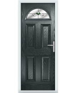 The Derby Composite Door in Grey (Anthracite) with Green Crystal Bohemia