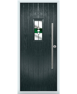 The Zetland Composite Door in Grey (Anthracite) with Green Crystal Bohemia