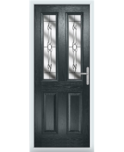 The Cardiff Composite Door in Grey (Anthracite) with Crystal Bohemia
