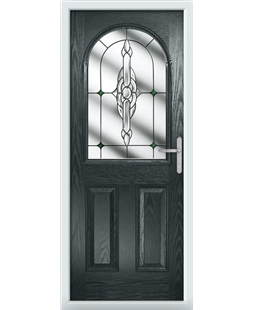 The Edinburgh Composite Door in Grey (Anthracite) with Green Crystal Bohemia