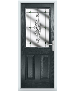 The Farnborough Composite Door in Grey (Anthracite) with Green Crystal Bohemia