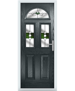 The Glasgow Composite Door in Grey (Anthracite) with Green Crystal Bohemia