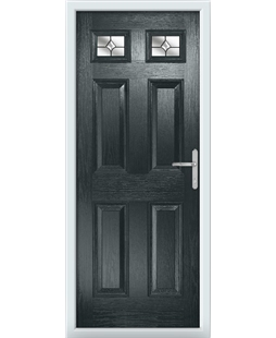 The Ipswich Composite Door in Grey (Anthracite) with Crystal Bohemia