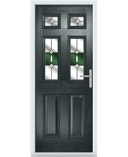 The Oxford Composite Door in Grey (Anthracite) with Green Crystal Bohemia