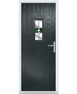 The Taunton Composite Door in Grey (Anthracite) with Green Crystal Bohemia