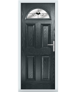 The Derby Composite Door in Grey (Anthracite) with Black Crystal Bohemia