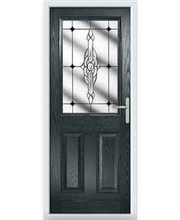 The Farnborough Composite Door in Grey (Anthracite) with Black Crystal Bohemia