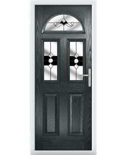 The Glasgow Composite Door in Grey (Anthracite) with Black Crystal Bohemia