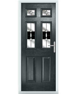 The Oxford Composite Door in Grey (Anthracite) with Black Crystal Bohemia