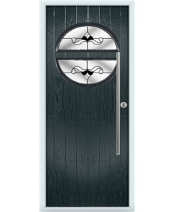 The Xenia Composite Door in Grey (Anthracite) with Black Crystal Bohemia