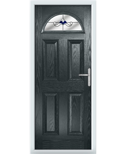 The Derby Composite Door in Grey (Anthracite) with Blue Crystal Bohemia