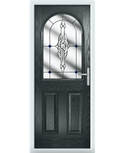 The Edinburgh Composite Door in Grey (Anthracite) with Blue Crystal Bohemia