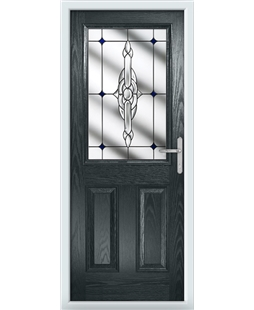The Farnborough Composite Door in Grey (Anthracite) with Blue Crystal Bohemia