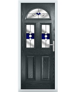 The Glasgow Composite Door in Grey (Anthracite) with Blue Crystal Bohemia