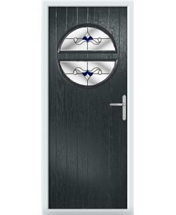 The Queensbury Composite Door in Grey (Anthracite) with Blue Crystal Bohemia