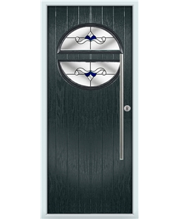 The Xenia Composite Door in Grey (Anthracite) with Blue Crystal Bohemia