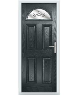 The Derby Composite Door in Grey (Anthracite) with Clear Crystal Bohemia