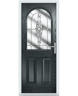 The Edinburgh Composite Door in Grey (Anthracite) with Clear Crystal Bohemia