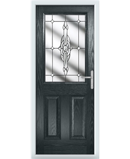 The Farnborough Composite Door in Grey (Anthracite) with Clear Crystal Bohemia