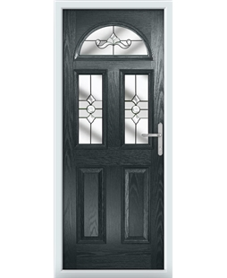 The Glasgow Composite Door in Grey (Anthracite) with Clear Crystal Bohemia