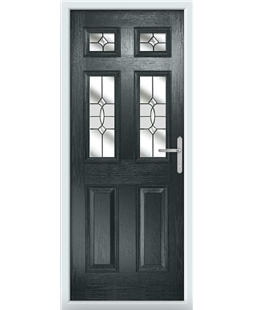 The Oxford Composite Door in Grey (Anthracite) with Clear Crystal Bohemia