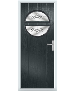 The Queensbury Composite Door in Grey (Anthracite) with Crystal Bohemia Clear