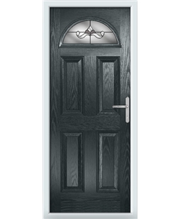 The Derby Composite Door in Grey (Anthracite) with Crystal Bohemia Frost