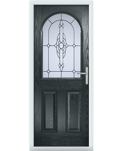 The Edinburgh Composite Door in Grey (Anthracite) with Crystal Bohemia Frost