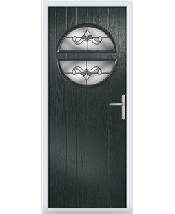 The Queensbury Composite Door in Grey (Anthracite) with Crystal Bohemia Frost
