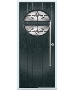 The Xenia Composite Door in Grey (Anthracite) with Crystal Bohemia Frost