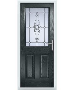 The Farnborough Composite Door in Grey (Anthracite) with Crystal Bohemia Frost