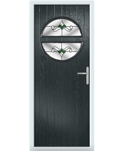 The Queensbury Composite Door in Grey (Anthracite) with Green Crystal Bohemia