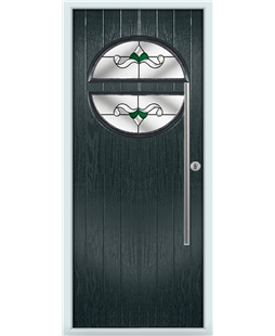 The Xenia Composite Door in Grey (Anthracite) with Green Crystal Bohemia