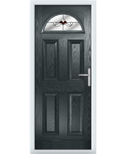 The Derby Composite Door in Grey (Anthracite) with Red Crystal Bohemia