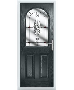 The Edinburgh Composite Door in Grey (Anthracite) with Red Crystal Bohemia