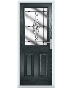 The Farnborough Composite Door in Grey (Anthracite) with Red Crystal Bohemia