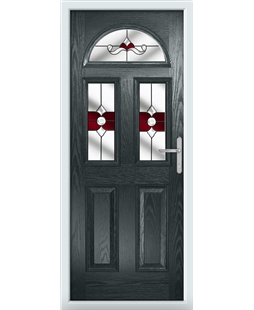 The Glasgow Composite Door in Grey (Anthracite) with Red Crystal Bohemia