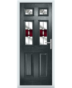 The Oxford Composite Door in Grey (Anthracite) with Red Crystal Bohemia