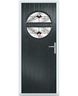The Queensbury Composite Door in Grey (Anthracite) with Red Crystal Bohemia