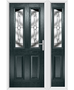 The Birmingham Composite Door in Grey (Anthracite) with Crystal Bohemia and matching SIde Panel