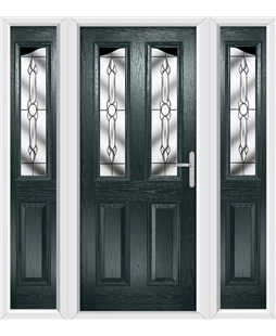 The Birmingham Composite Door in Grey (Anthracite) with Crystal Bohemia and matching Side Panels