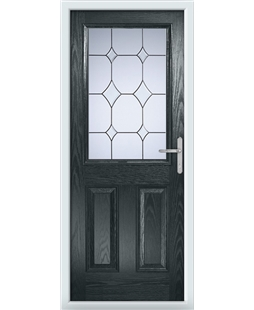 The Farnborough Composite Door in Grey (Anthracite) with Crystal Diamond