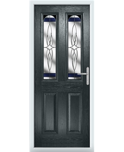 The Aberdeen Composite Door in Grey (Anthracite) with Blue Crystal Harmony