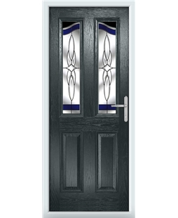 The Birmingham Composite Door in Grey (Anthracite) with Blue Crystal Harmony