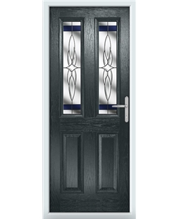 The Cardiff Composite Door in Grey (Anthracite) with Blue Crystal Harmony