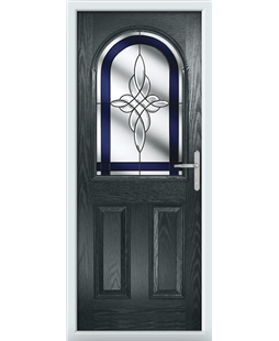 The Edinburgh Composite Door in Grey (Anthracite) with Blue Crystal Harmony