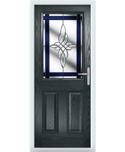 The Farnborough Composite Door in Grey (Anthracite) with Blue Crystal Harmony