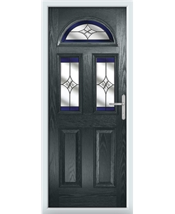 The Glasgow Composite Door in Grey (Anthracite) with Blue Crystal Harmony