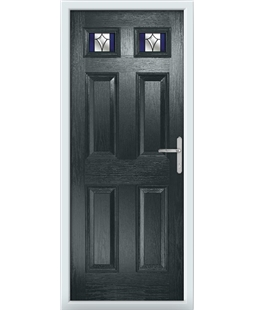 The Ipswich Composite Door in Grey (Anthracite) with Blue Crystal Harmony